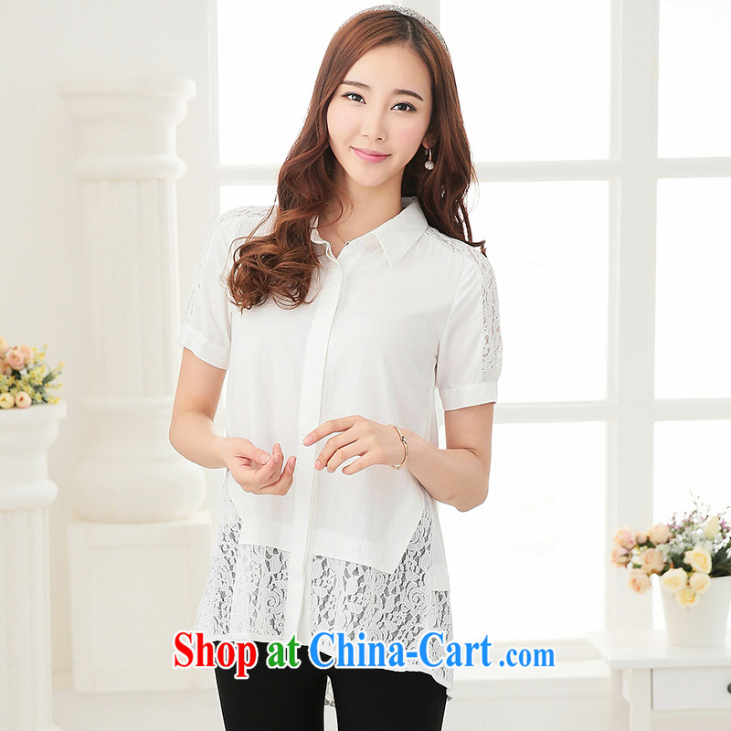 cheer for 2015 the code summer thick MM Korean sweet lace stitching T-shirt graphics thin and thick sister T-shirt 2692 white 5 XL