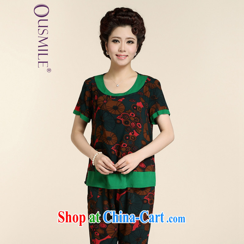 Ousmile new summer MOM Kit stamp short-sleeved shirt T grandmother with two-piece in the elderly, female 88,160 red-and-green 3XL