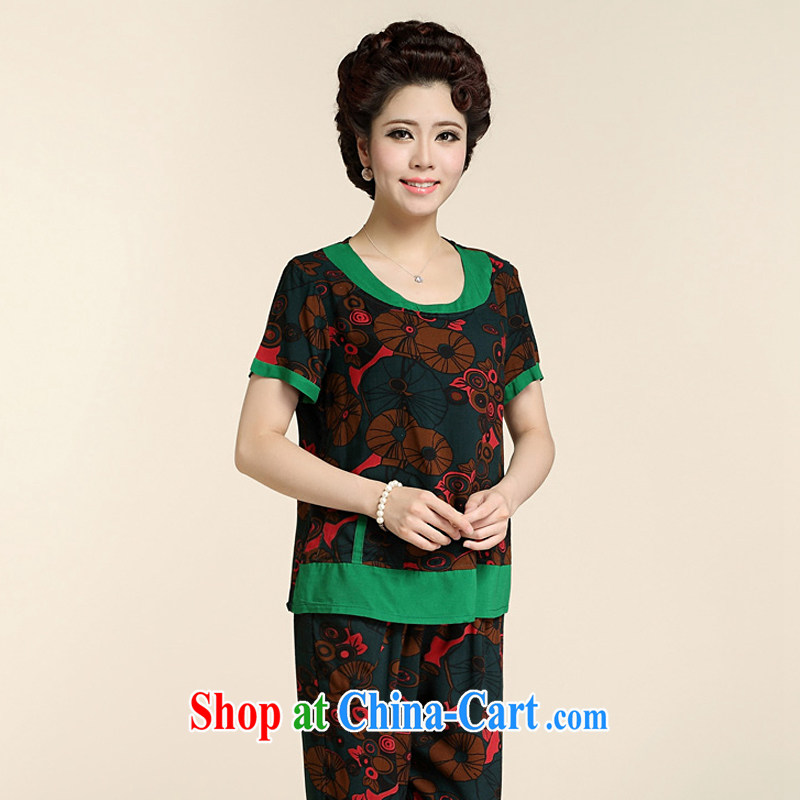 Ousmile new summer MOM Kit stamp short sleeve shirt T grandmother with two-piece in the elderly, female 88,160 red-and-green 3XL, Ousmile, shopping on the Internet