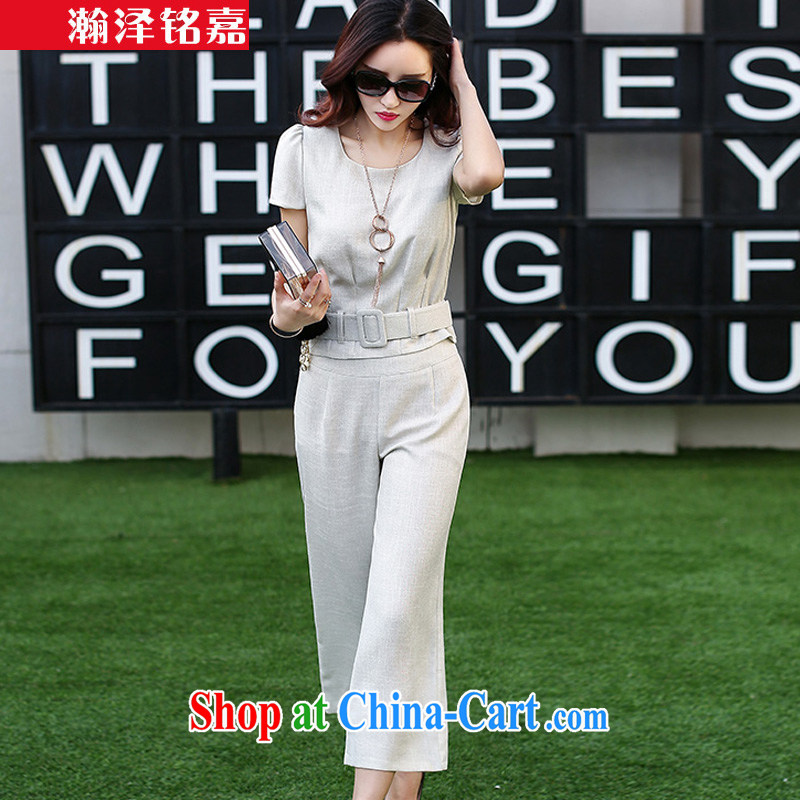 Han-taek Martin Lee Ka Leisure package Women 2015 spring and summer with new female Korean Career Package pants and skirts the cotton pants Wide Leg pants small suit Female white XXL