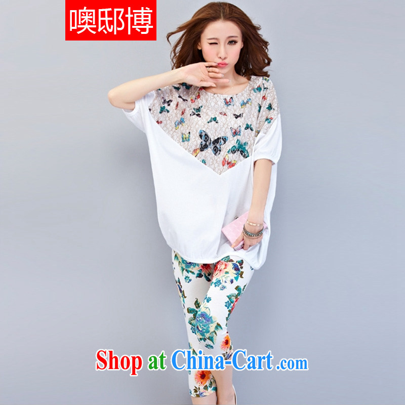 Oh, the 2015 summer new, larger female thick MM loose cotton T-shirt, long, short-sleeved shirts 7 pants and indeed increase casual wear Sports Kit white two-piece XXXXL