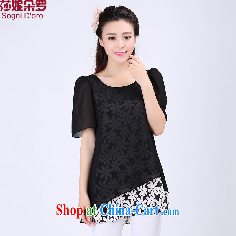 Laurie flower, the Code women snow woven shirts thick sister summer graphics thin, leave of two short-sleeved shirt T loose women 6740 black 5 XL