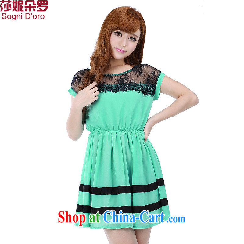 Laurie flower, the fat King, female fat mm 2015 summer new lace stitching snow woven dresses 6260 light green 6 XL