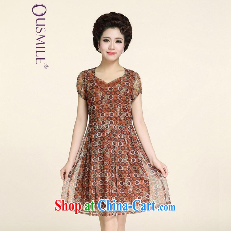 Ousmile elegant mother load summer short-sleeve ice silk breathable stamp dress in the elderly, female 88,169 orange 4 XL