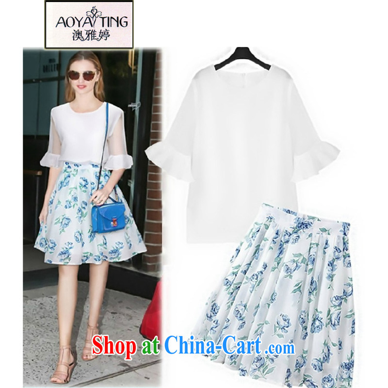 o Ya-ting 2015 New, and indeed increase, female spring and summer with thick mm video thin T shirt + stamp skirt Kit female white + blue dress two-piece 3 XL recommends that you 145 - 165 jack