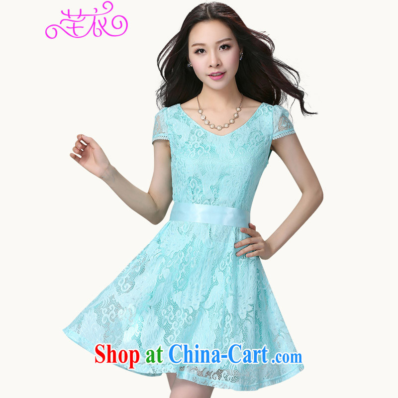 Constitution Yi 2015 summer New, and indeed increase, female short-sleeve Korean lace beauty graphics thin waist thick mm stylish the waist urban lady skirt blue large XL 4 175 - 190 jack