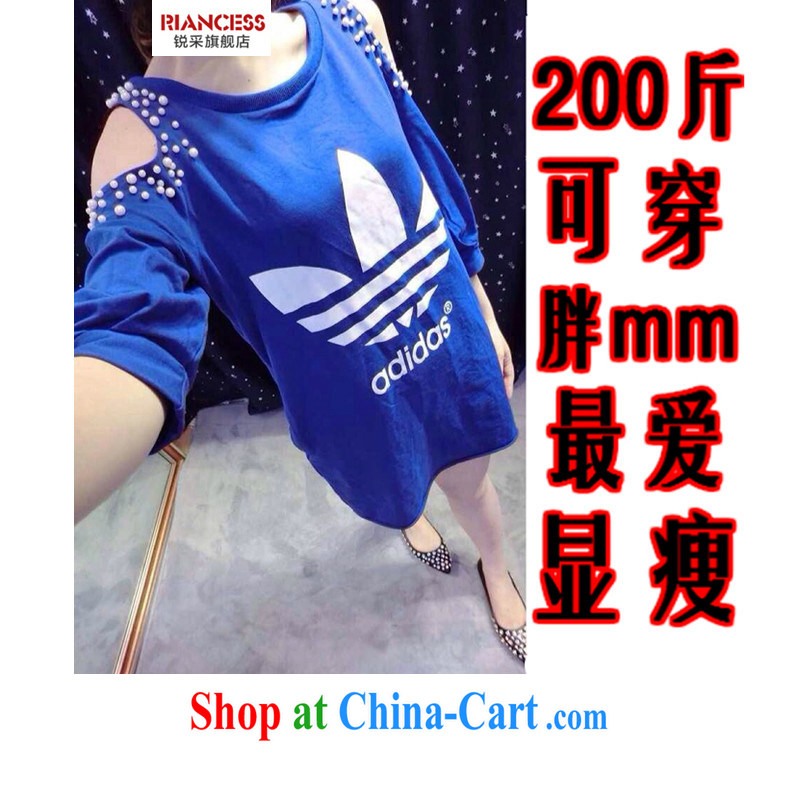With vPro the European and American style in a new, larger female summer staple-ju long, bare shoulders T shirt thick sister cotton shirt 200 to pass through video thin, and the fat girl with large blue code XXL