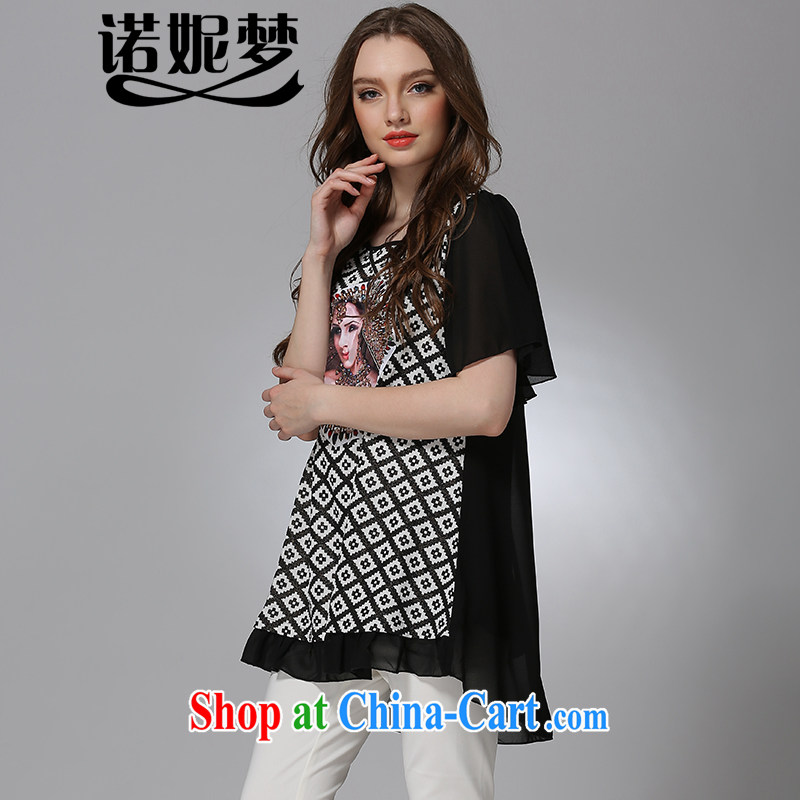 The Connie was a high-end European and American fare is indeed increasing, female Jack 200 mm thick 2015 summer new stylish stamp short-sleeved snow woven dresses J 8080 black XXXXL