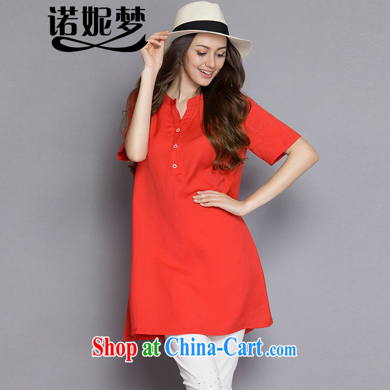 Connie's dream high-end European and American large code female summer 2015 new thick mm temperament small V collar short-sleeved cotton Ma dresses J 1099 orange XXXXXL