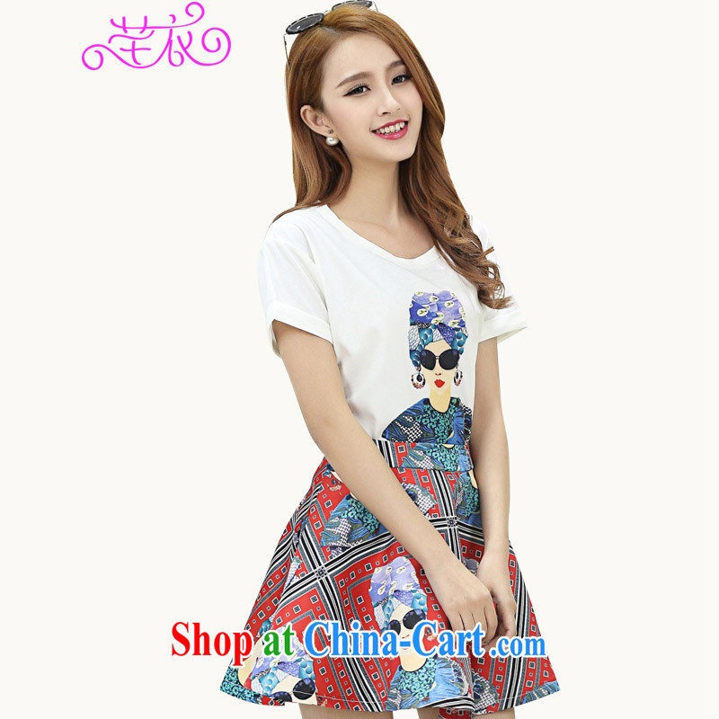 Constitution, 2015 summer new, indeed the XL girls decorated in graphics thin short-sleeved round neck shirt T mm thick stylish urban lovely wind sweet stamp T-shirt white large XL 2 140 - 155 jack
