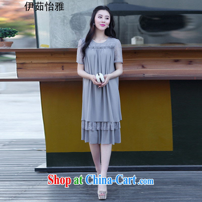 The Ju-Yee Nga 2015 summer new Korean lace-thick snow sister woven stitching large code female dresses YY 9181 gray XXXXL