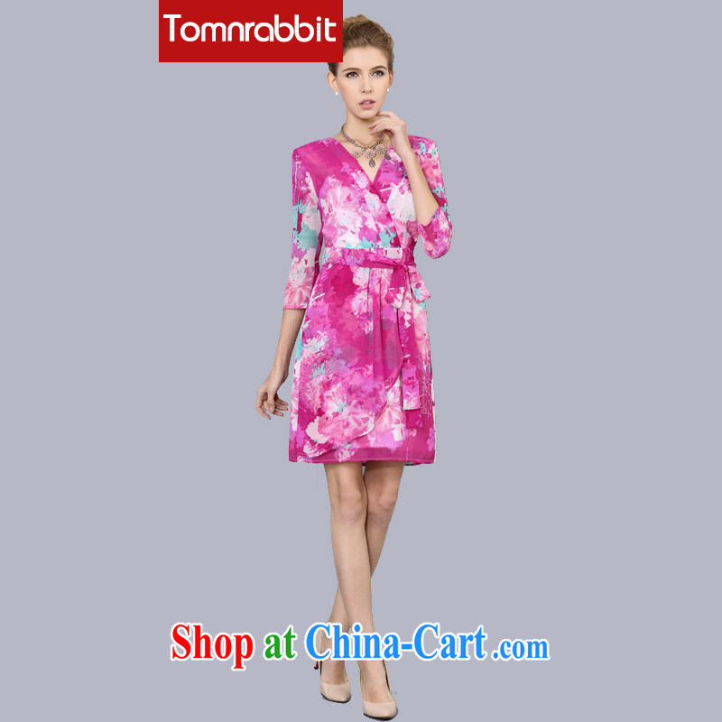 Tomnrabbit 2015 summer new V collar with 7 stamp duty cuff beauty in Europe video thin large code dresses of red 3 XL