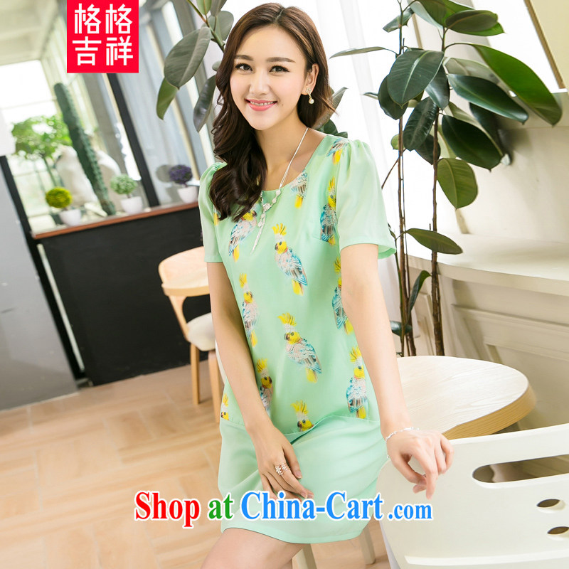 Huan Zhu Ge Ge Ge 2015 and indeed XL female summer new emphasis on cultivating mm video thin stylish stamp duty high-quality short-sleeve dresses X 5209 green 3 XL