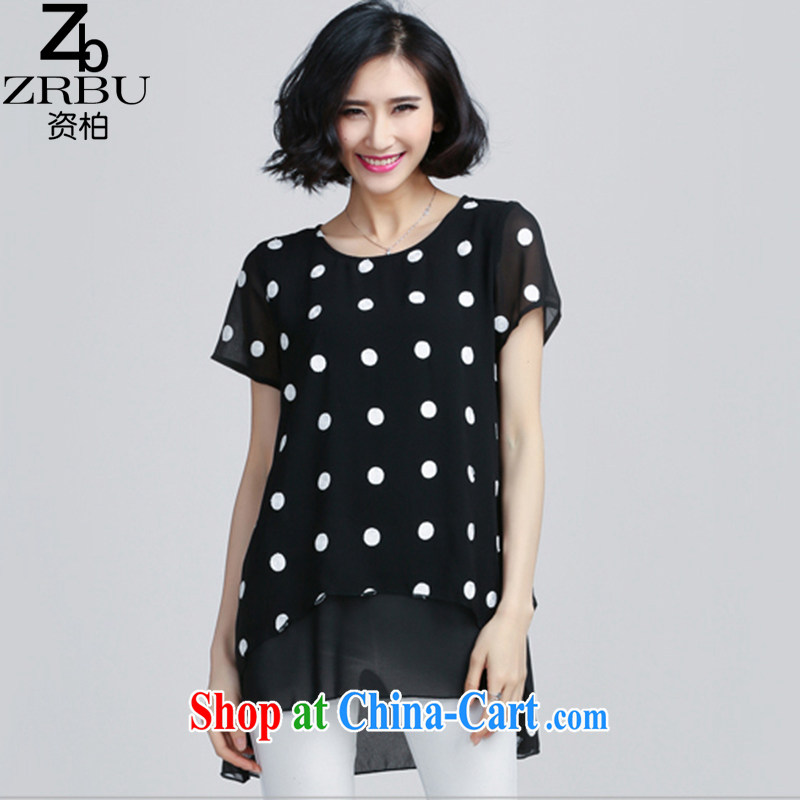 Funding Park summer 2015, focusing on the younger sister, female round-collar short-sleeve dot loose video thin, long, snow-woven shirts T-shirt Z 6076 photo color 4 XL