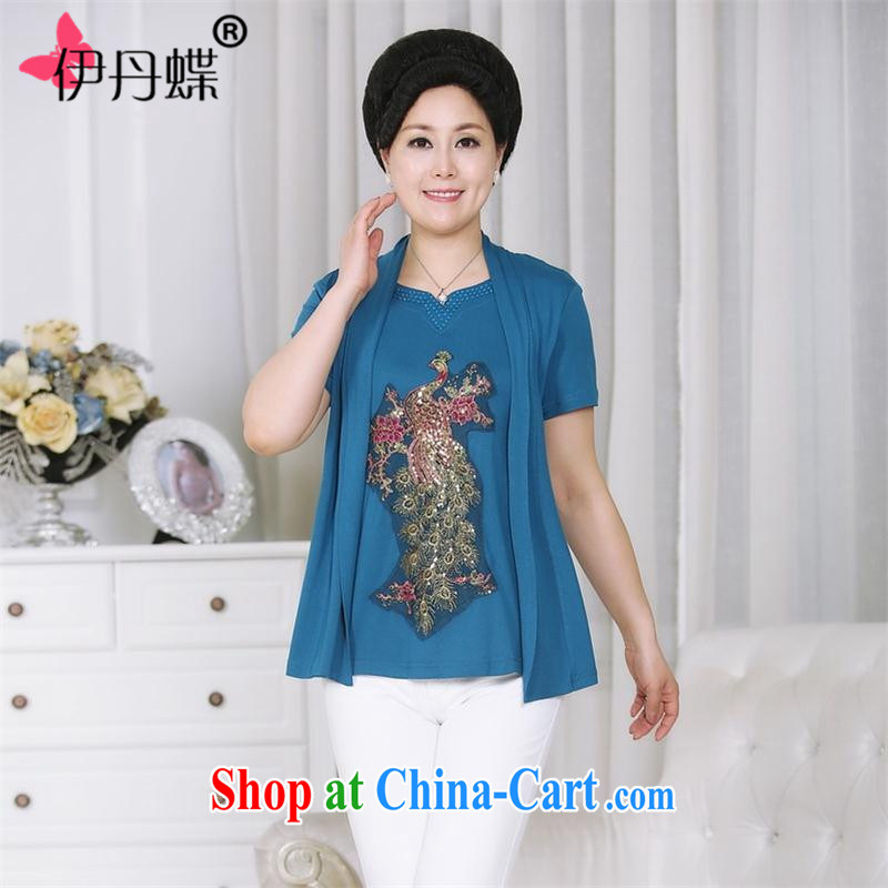 itami butterfly middle-aged and older women knitted shirts T shirts summer new, larger female elderly in short-sleeved leave two mother loaded 2.015043 billion light blue XXXXL
