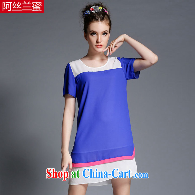 The silk, honey XL girls thick MM graphics thin 2015 summer stitching leave of two part beauty dresses ZZ 1899 blue 3 XL (150 jack - 164 Jack through)