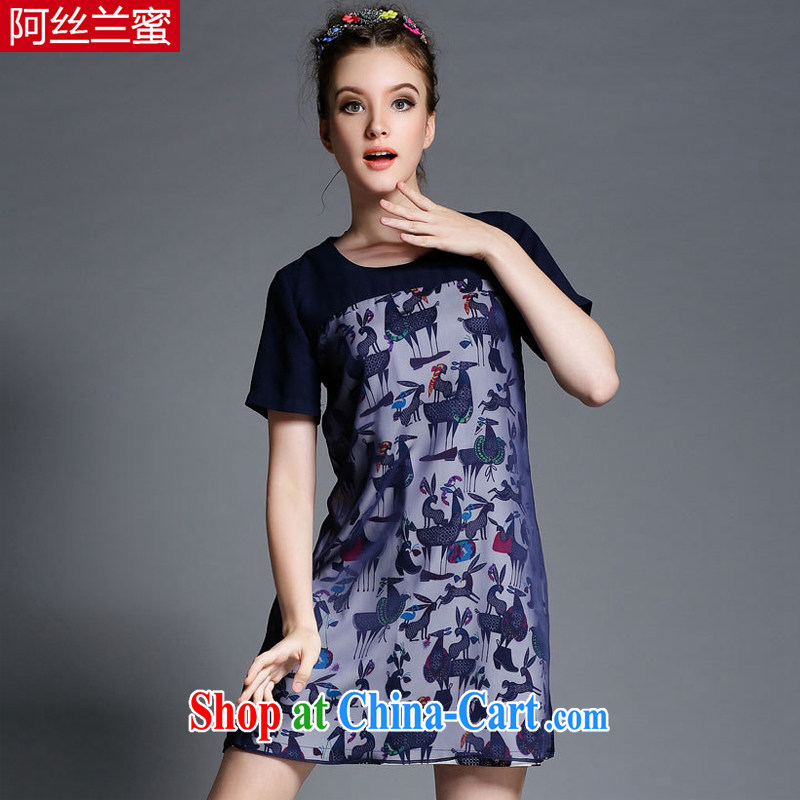 The silk, honey XL girls thick MM graphics thin 2015 summer stamp stitching beauty dresses ZZ 1879 dark blue 3XL _150 jack - 164 Jack through_