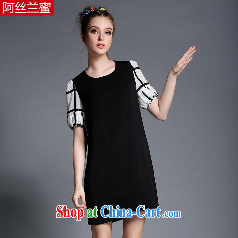 The silk, honey XL girls thick MM graphics thin 2015 summer wear black-and-white knocked color sleeves stitching cultivating dresses ZZ 1870 black 4XL (165 jack - 180 Jack through)