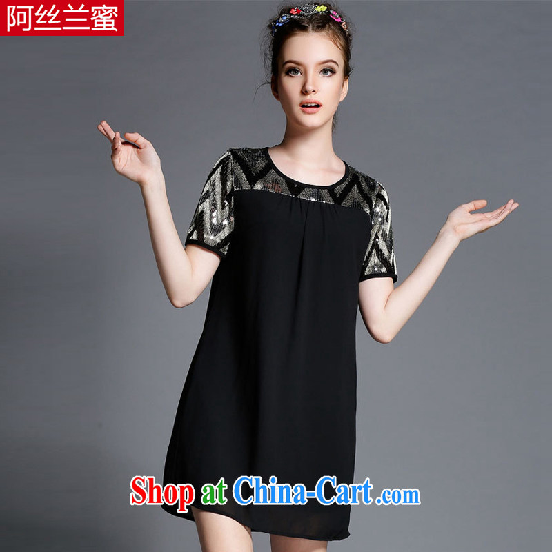 The silk, honey XL girls thick MM graphics thin 2015 summer wear, stitching beauty dresses ZZ 1865 black 5 XL _181 jack - 200 Jack through_