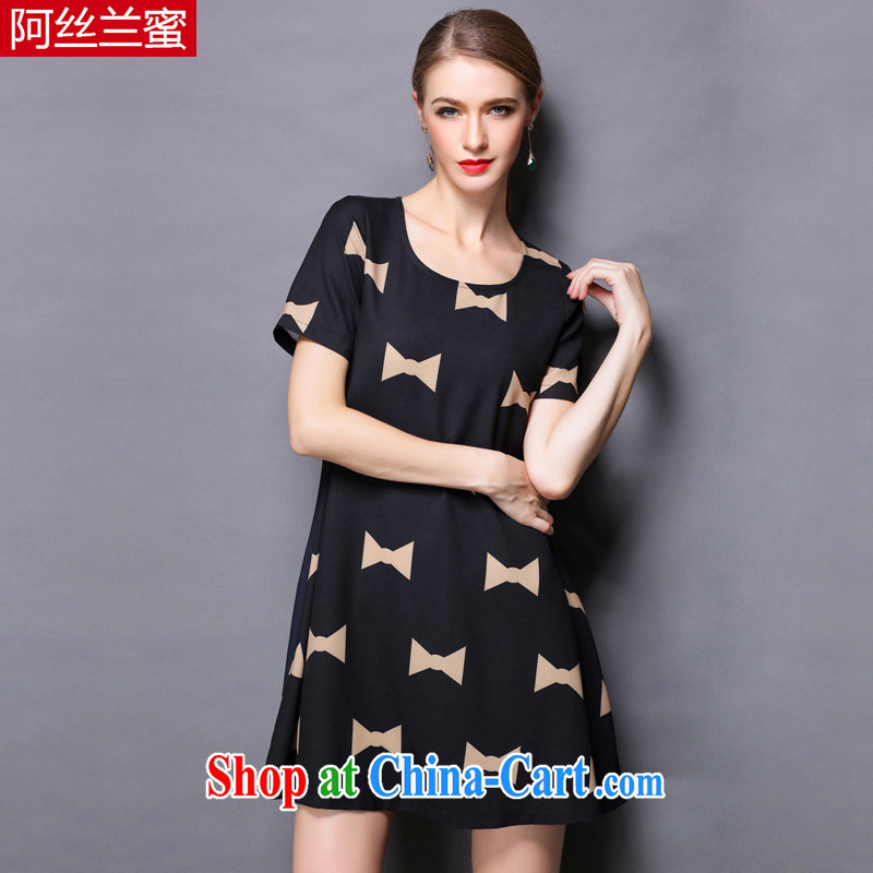 The silk, honey XL girls thick MM graphics thin 2015 summer bowtie stamp beauty dresses ZZ 1816 black 4XL _165 jack - 180 Jack through_