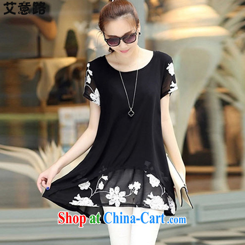 AIDS and the 2015 summer load new short-sleeved clothes snow woven shirts thick MM larger women dress 9359 black XXXL