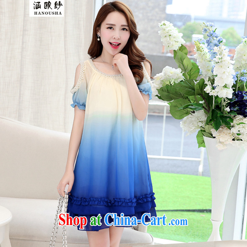 covered by the yarn and indeed increase, female 2015 Korean version thick sister loose video thin short-sleeved snow woven thick mm summer staple Pearl dresses blue XXL