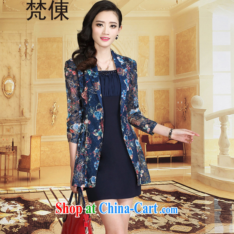 Van Gogh �� 2015 summer on the new contributions on Korean women, mothers with lace waist in beauty package and the code Solid ice woven dresses summer X 777 Navy cuff in 3 XL