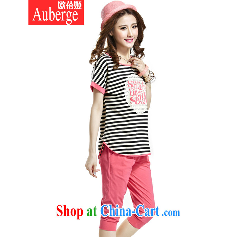 Auberge summer 2015 Korean packaged loose larger streaks bat T-shirt short-sleeve 7 pants casual two-piece female peach XXXXL