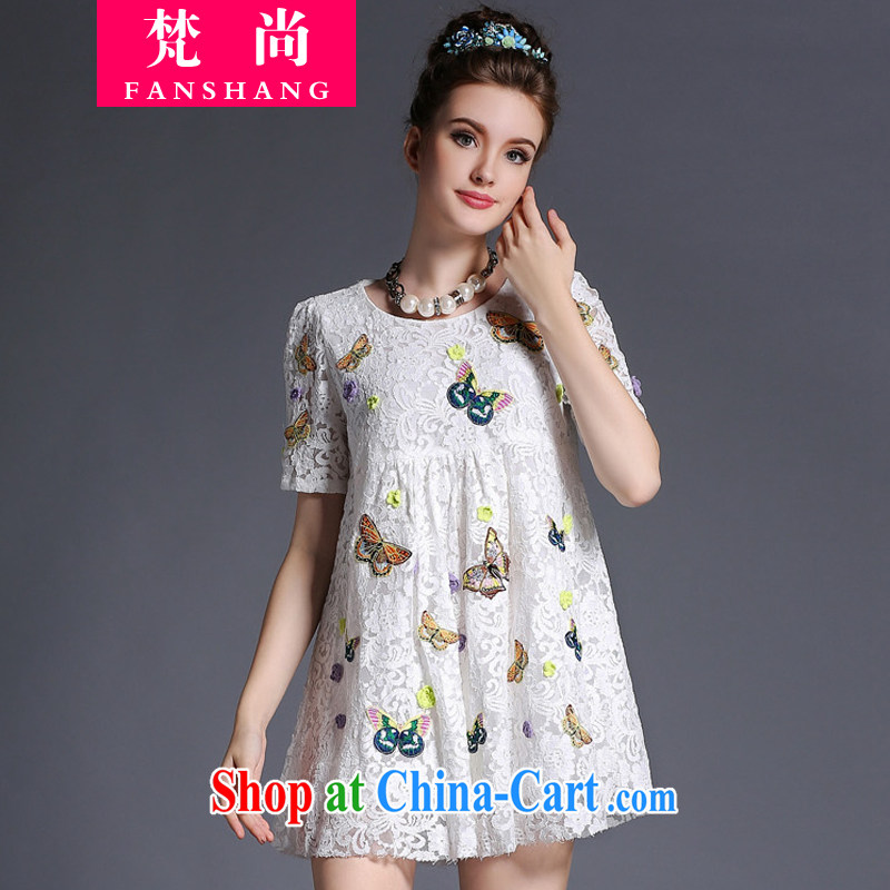 He could bring about 2015 the United States and Europe, female summer and indeed intensify lace round-collar short-sleeve thick sister graphics thin summer dresses 200 Jack white 3 XL