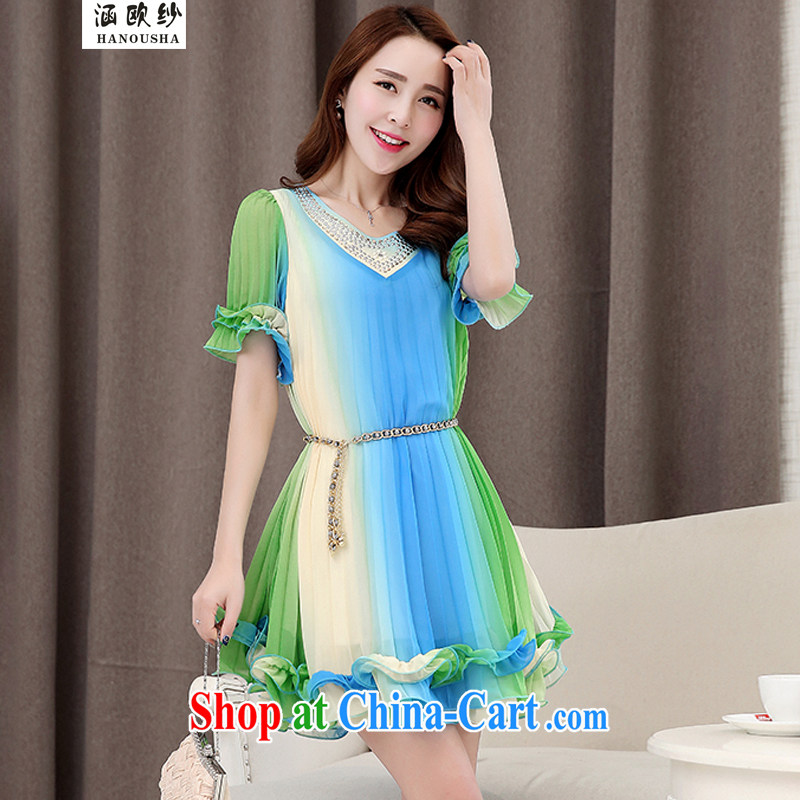 Covering the yarn thick mm summer 2015 the code dress dresses and indeed increase graphics thin 100 hem snow woven large dresses Blue Green Bar XXL