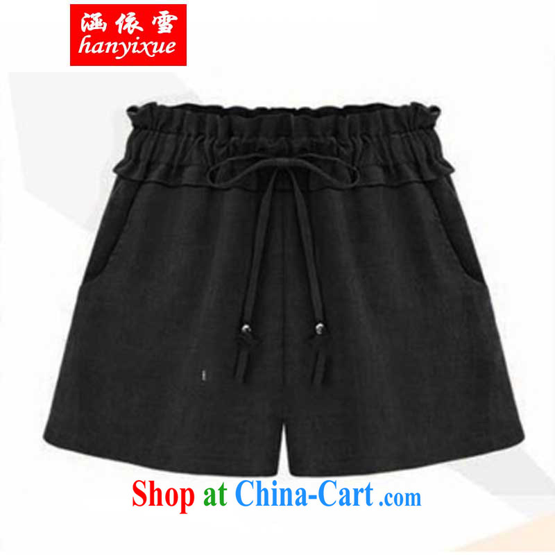 covered by snow King, leisure high waist shorts summer thick MM elasticated waist loose video thin hot pants black XXL