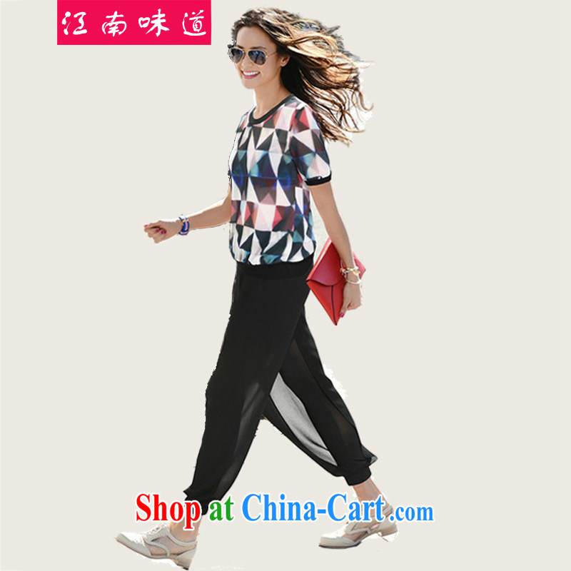 taste in Gangnam-gu, the female summer is the increased emphasis on MM snow woven shirts thick girls with graphics thin, short-sleeved T-shirt + snow woven shorts package 117 Map Color 5 XL 180 recommendations about Jack