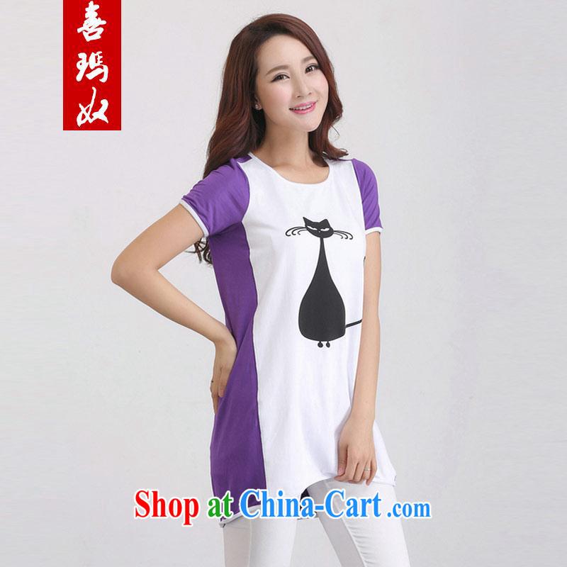 Hi Princess slave XL female, generation, cotton T shirt loose minimalist stitching color black cat pattern shirt D 50,119 purple large code 4 XL