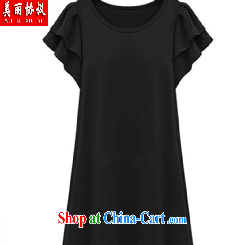 Beautiful 2015 Agreement the United States and Europe, female summer is the increased burden 200 thick sister graphics thin T pension flouncing cuff dress SJL 2641 black XXXXXL