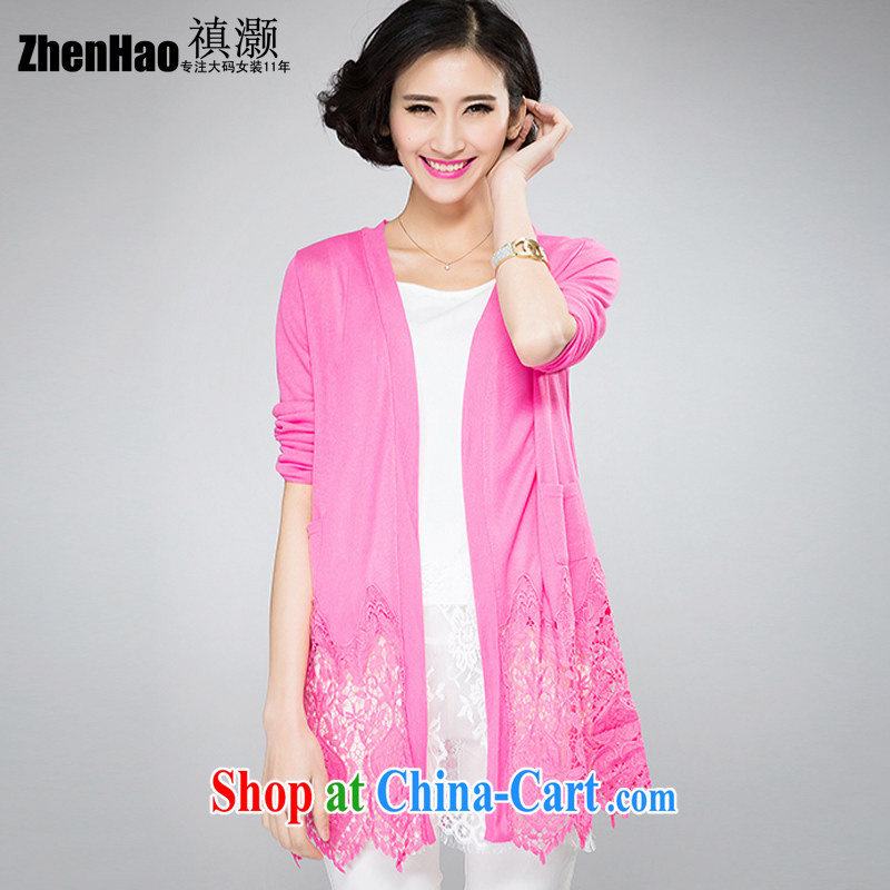 ? collective counters and 2015 spring and summer new, larger female thick mm sister and indeed increase Korean video thin long-sleeved lace thin cardigan sunscreen Air Conditioning T-shirt is the red 4 XL _suitable for weight 180 jack_
