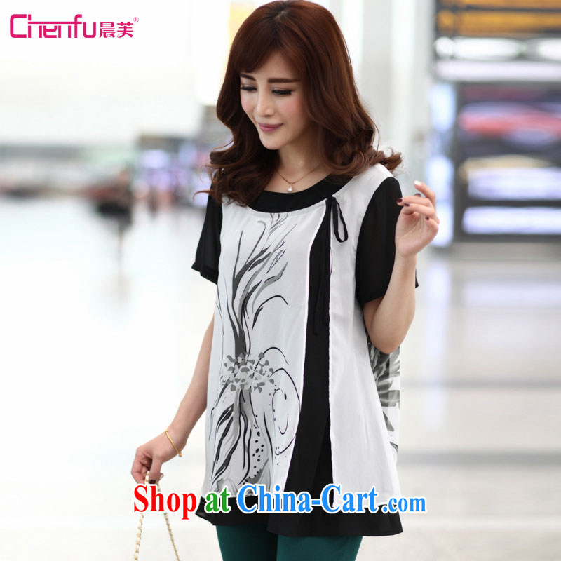 Morning would be 2015 summer new Korean version is indeed the XL female 200 Jack mm thick loose video thin knocked color stitching ink stamp snow woven shirts black-and-white 5XL _180 - 200 _ jack