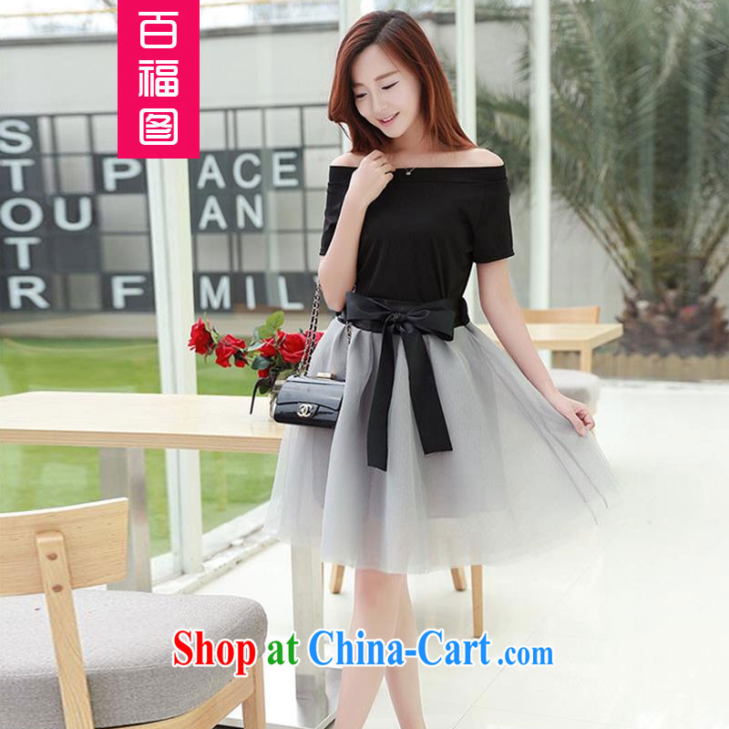 100 Of The 2015 summer new, larger female thick MM a field for black T shirt + bow tie the skirt body Kit 200 jack to wear! Black 4 plus