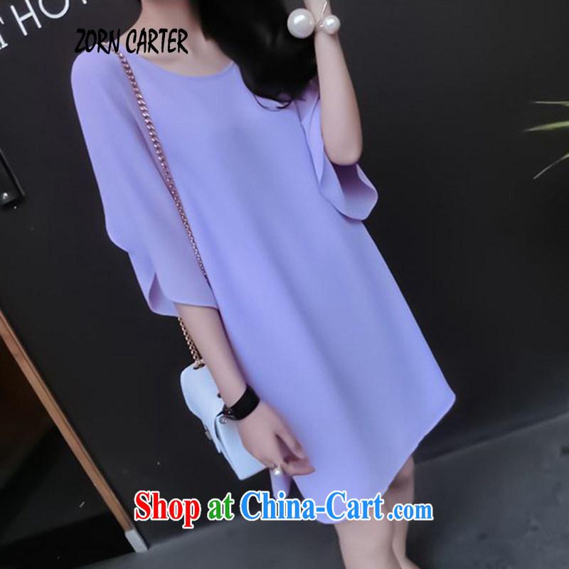 Jordan, Carter 2015 summer new, larger female flouncing horn cuff snow woven shirts dresses women 9533 violet XXXXL