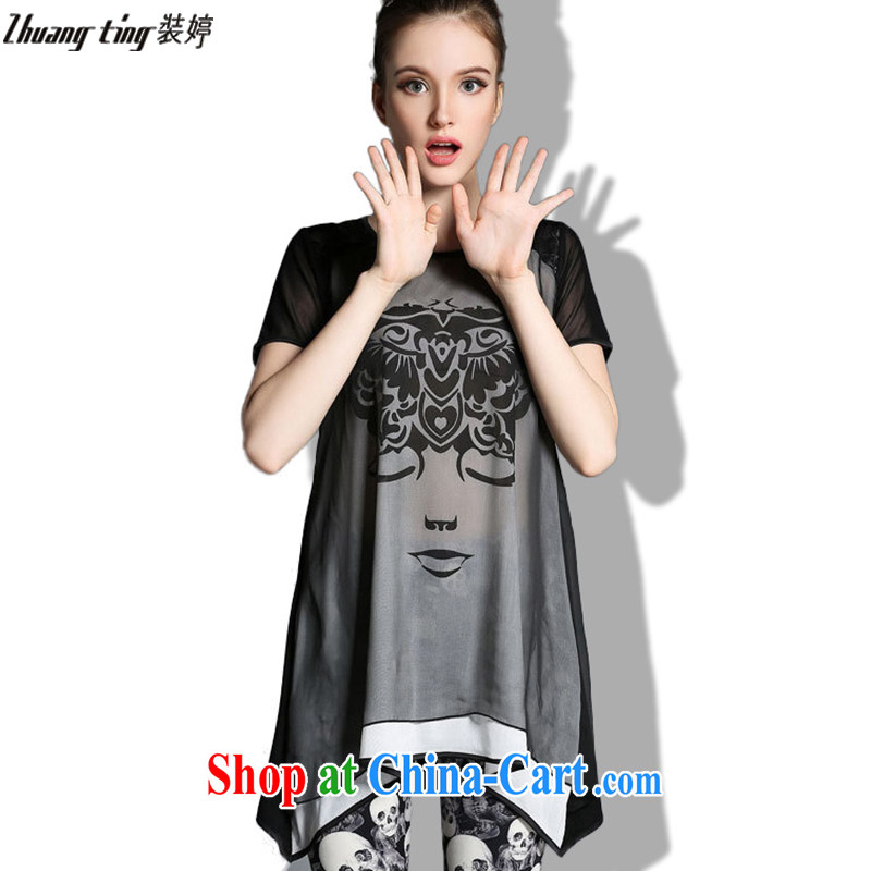 The load-ting zhuangting -- thick, graphics thin 2015 Summer in Europe and America, the girl with the FAT increase graphics thin loose T pension Kit 1823 photo color 5 XL