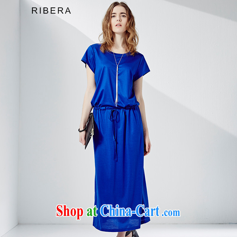 Carol Bellamy, dresses summer is the girl with long round-collar short-sleeve dress thick MM 6.52102 billion electric blue XXL