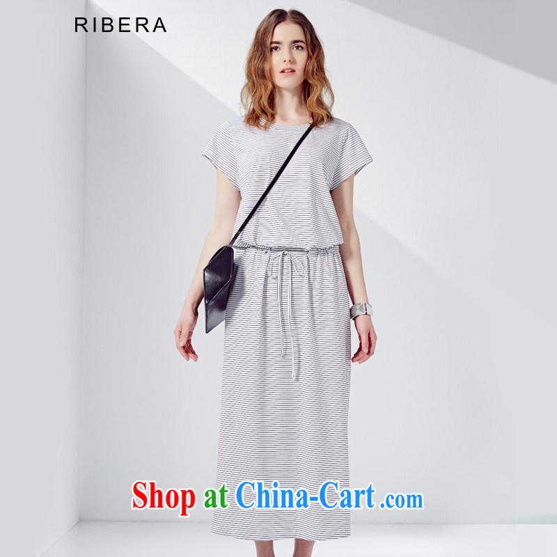 RIBERA summer new 2015 cotton 100 ground leisure short-sleeved dresses Women's Code 6.52102 billion black-and-white, S
