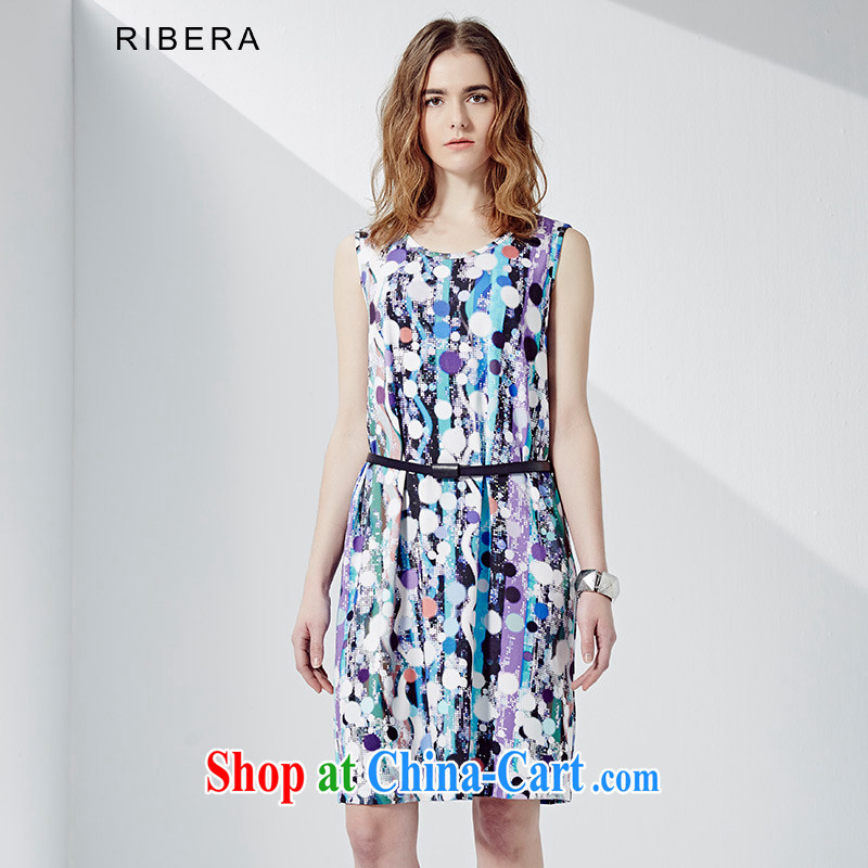 RIBERA summer new 2015 abstract colored point stamp duty vest dresses Women's Code 6.52103 billion purple XXXL