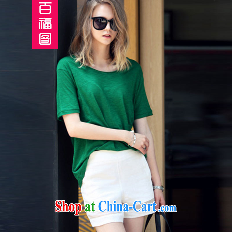 100 Of The 2015 code the girls video thin thick mm summer new stylish short-sleeve foreign trade and indeed increase shorts Sports Package is indeed MM mandatory_ Green XXL