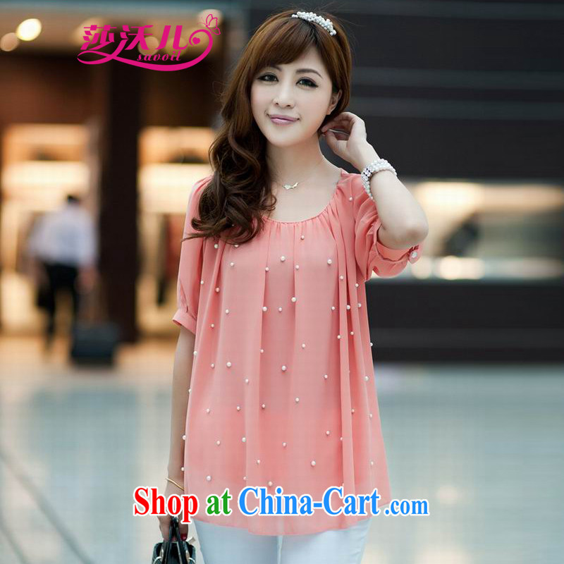 Elizabeth's Kosovo-care savoil 2015 New Products summer maximum code mm thick female Korean version loose short-sleeved snow woven shirts T-shirt 5519 powder color M recommendations 100 jack