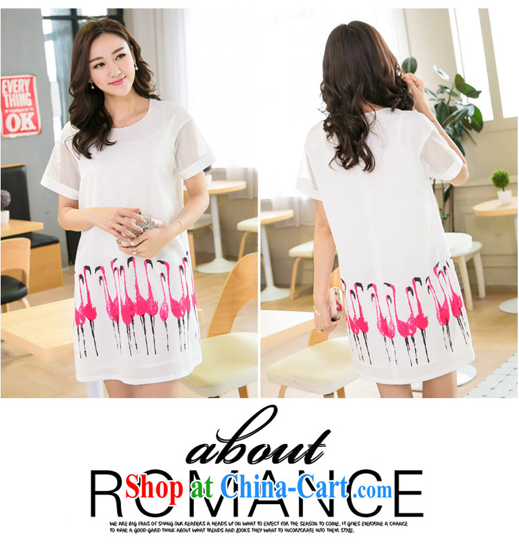 Huan Zhu Ge Ge Ge XL ladies' 2015 summer new Korean version mm thick loose video thin Web yarn stitching snow woven stamp short-sleeved dresses 5200 white 3XL pictures, price, brand platters! Elections are good character, the national distribution, so why buy now enjoy more preferential! Health