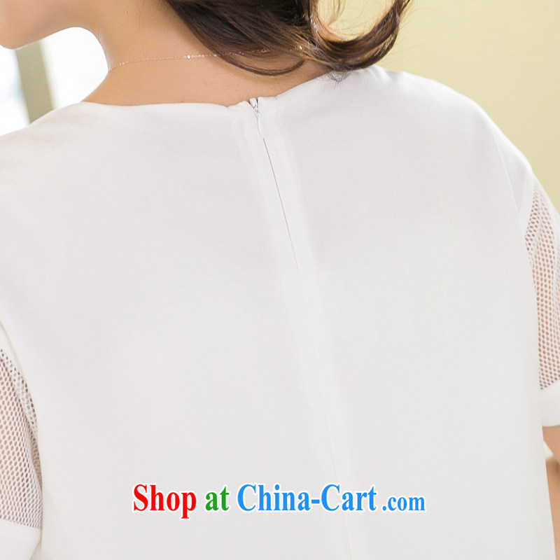 Huan Zhu Ge Ge Ge XL ladies' 2015 summer new Korean version mm thick loose video thin Web yarn stitching snow woven stamp duty short-sleeved dresses 5200 white 3XL, giggling auspicious, shopping on the Internet
