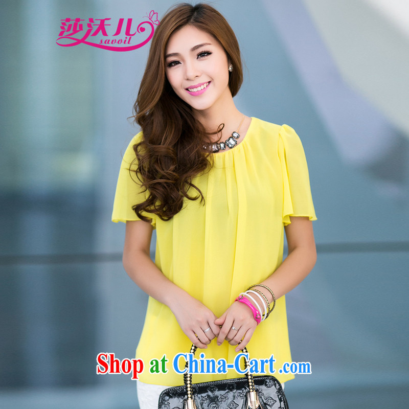 Elizabeth's Kosovo savoil larger mm thick Korean female loose snow woven shirts T shirt T-shirt 6129 fluorescent color 4 XL recommendations 160 - 170