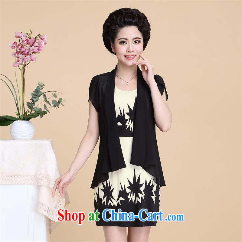 itami butterfly, older women dresses summer new, larger women, older short-sleeved T shirt vest two-piece mother load 201504222 black XXXXL