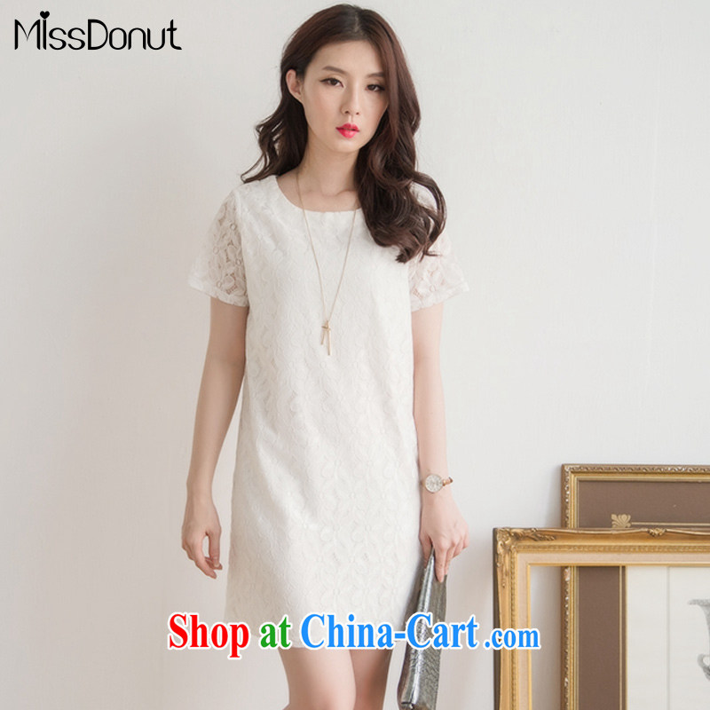 MissDonut 2015 summer mm thick and fat increases, female Korean style beauty graphics thin thick sister short-sleeved lace dresses large white code XXL