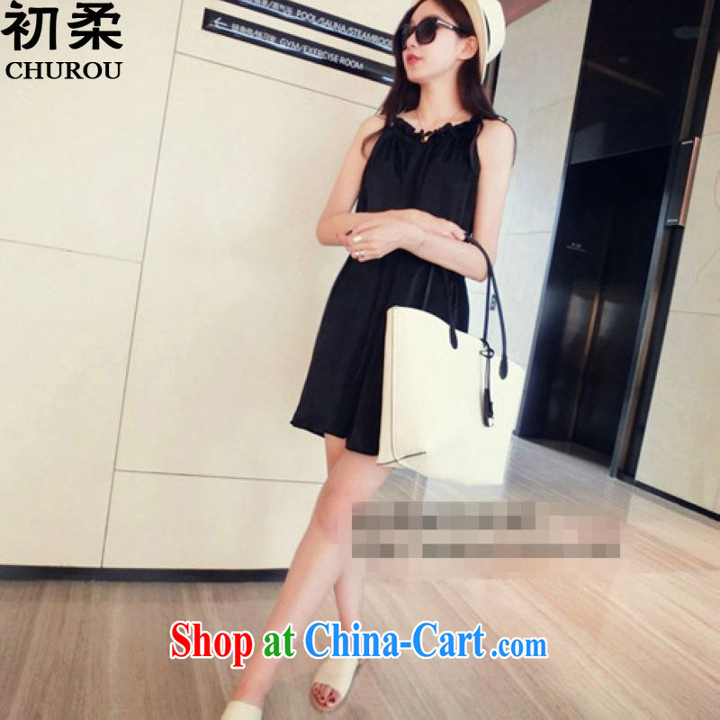 Flexible early summer 2015, focusing on the younger sister, female thick mm loose video thin GALLUS DRESS sleeveless dresses 200 jack to wear black XXXL